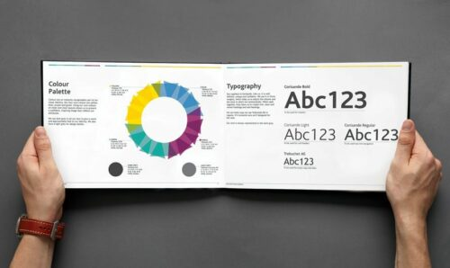 Brand guideline book with colour palette and typography for your business. Creative Ground.