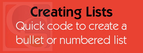 Creating Lists through HTML Code