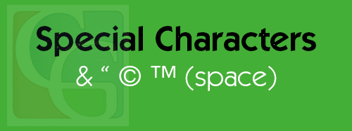Special Characters HTML Code